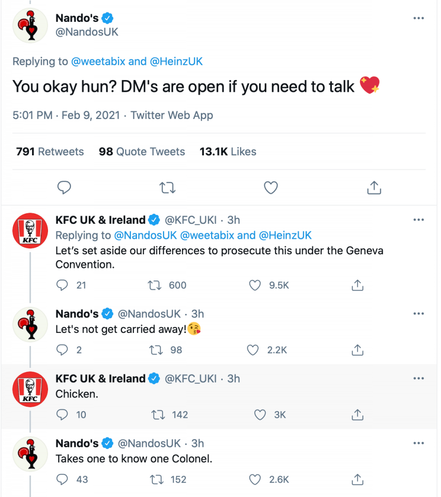 Nando's Calling Out KFC on Twitter
